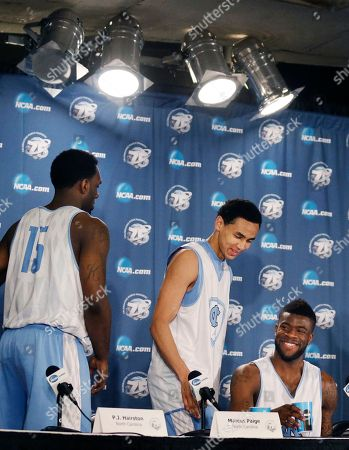 P.J. Hairston, Marcus Paige, Reggie Bullock North Carolina guards P.J. Hairston (15), Marcus Paige and Reggie Bullock, right, leave a news conference about their third-round game in the NCAA men's college basketball tournament in Kansas City, Mo., . North Carolina will play Kansas on Sunday