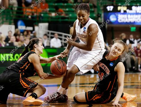 Stock Photo of Niveen Rasheed, Michelle Miller, Lauren Coleman Princeton guard Niveen Rasheed, left, and Michelle Miller, right, combine to steal a ball away from Florida State's Lauren Coleman, center, in the first half of a first-round game in the women's NCAA college basketball tournament, in Waco, Texas