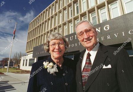 GUYS Former North Dakota Gov. Bill Guy and his wife, Jean, in front of the federal building in Bismarck, N.D. Guy, one of North Dakota's longest serving governors, died, at the age of 93 according to former Sen. Kent Conrad, who had spoken with family members