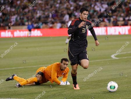 Raul Jimenez, Jose Carvallo Mexico's Raul Jimenez (11) dribbles past Peru goalkeeper Jose Carvallo, left, during the first half of an international friendly soccer match, in San Francisco