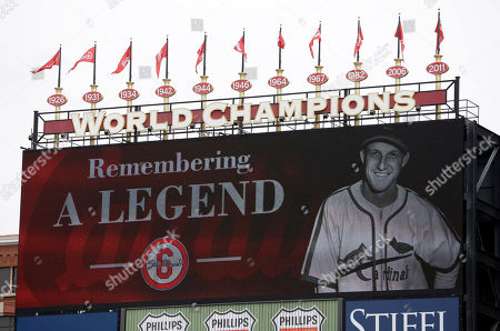 Former St. Louis Cardinals great Stan Musial is remembered before the start of a baseball game between the St. Louis Cardinals and the Cincinnati Reds, in St. Louis. Musial died January 19, 2013 at the age of 92