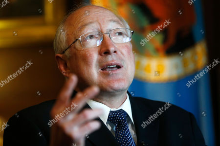 Ken Salazar Outgoing Interior Secretary Ken Salazar gestures during an interview with The Associated Press in his office at the Interior Department in Washington