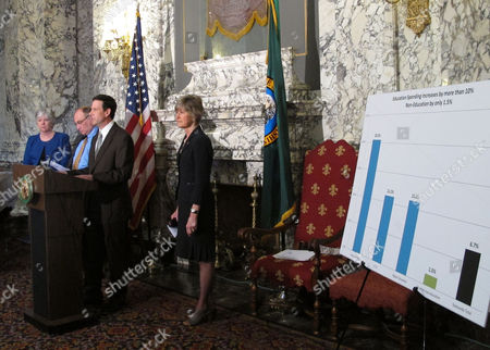 Republican Sen. Andy Hill, second from right, speaks about the chamber's budget proposal, joined by Democratic Sens. Sharon Nelson and Jim Hargrove, left, and Republican Sen. Linda Evans Parlette, far right,, in Olympia, Wash. The proposal seeks to address a projected budget deficit and put more money into the state's basic education system without new taxes