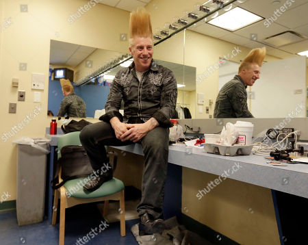 """Bello Nock This photo shows performer Bello Nock in his dressing room at the New Victory Theater, before performing in """"Bello Mania,"""" in New York. Nock, a seventh-generation circus performer, is never offstage during the 90-minute performance, which combines slapstick clowning with death-defying aerial stunts. He performs through March 31 at the New Victory before moving on to the Canadian side of Niagara Falls and then a 10-week stint at the Beau Rivage Casino in Biloxi, Miss"""