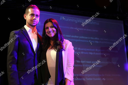 Jack Dorsey, Reshma Saujani Twitter co-Founder Jack Dorsey, left, poses for photographers with Democratic Candidate for Public Advocate Reshma Saujani during a fundraiser for Saujani, in New York