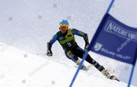 Stock Photo of Nicholas Krause NIcholas Krause during the first run of the men's giant slalom at the U.S. Alpine Ski Championships at Squaw Valley, at Squaw Valley, Calif