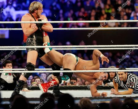 """Jacob """"Jake"""" Hager, Jose Alberto Rodríguez Jacob """"Jake"""" Hager, Jr., known as Jack Swagger, left, locks up the leg of Jose Alberto Rodríguez, of Mexico, known as Alberto Del Rio, during the WWE Wrestlemania 29 wrestling event, in East Rutherford, N.J"""