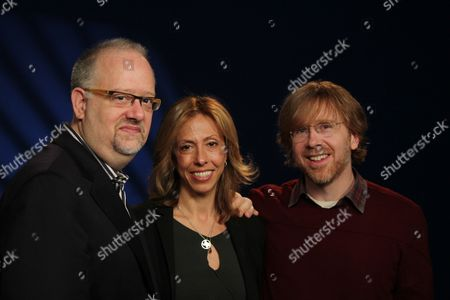 """Doug Wright Amanda GreenTrey Anastasio In this, photo, from left, playwright Doug Wright, composer-lyricist Amanda Green and Phish founder Trey Anastasio pose for a portrait in New York. The trio have teamed up to create the new Broadway musical """"Hands on a Hardbody"""