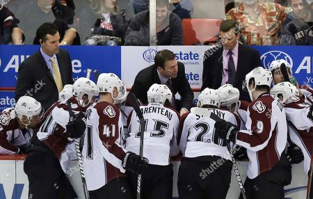 Joe Sacco Colorado Avalanche coach Joe Sacco, center, talks to his team during the third period of an NHL hockey game against the Detroit Red Wings in Detroit, . Detroit won 2-1
