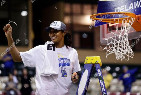 Danielle Parker Delaware forward Danielle Parker displays a piece of the net that she cut during a ceremony after winning an NCAA college basketball game against Drexel in the championship of the Colonial Athletic Association conference tournament in Upper Marlboro, Md., . Delaware won 59-56