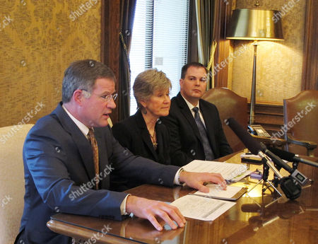 Stock Photo of From left, Republican Sens. Bruce Dammeier, Linda Evans Parlette, and John Braun, speak to the media after the Washington state Senate voted on education reform bills, in Olympia, Wash. Dammeier's bill giving veto power to principals over teachers assigned to their schools was one of the measures that passed