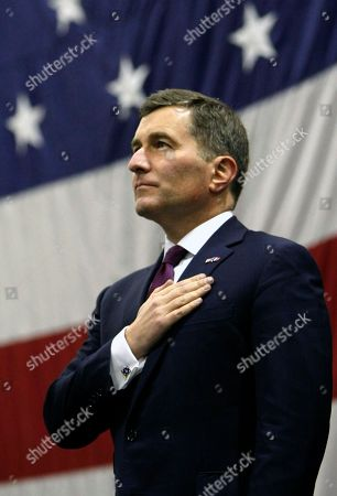 Charles H. Rivkin U.S Ambassador to France and Monaco, Charles H. Rivkin, stands as the US national anthem is played aboard US aircraft carrier USS Dwight D. Eisenhower, while at port in Marseille, southern France, . US aircraft carrier USS Dwight D. Eisenhower departed from Norfolk, Virginia, USA on Feb 21 and stopped in Marseille, southern France, en route for the Mediterranean sea and Indian Ocean