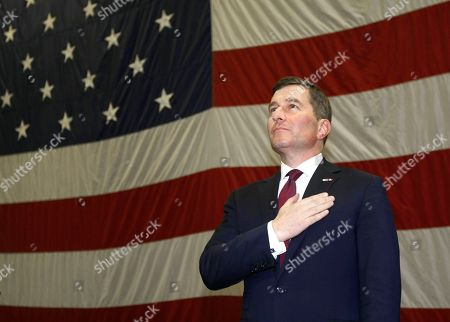 Charles H. Rivkin U.S Ambassador to France and Monaco, Charles H. Rivkin, stands as the US national anthem is played aboard US aircraft carrier USS Dwight D. Eisenhower, in Marseille, southern France, . US aircraft carrier USS Dwight D. Eisenhower departed from Norfolk, Virginia, USA on Feb 21 and stopped in Marseille, southern France, en route for the Mediterranean sea and Indian Ocean