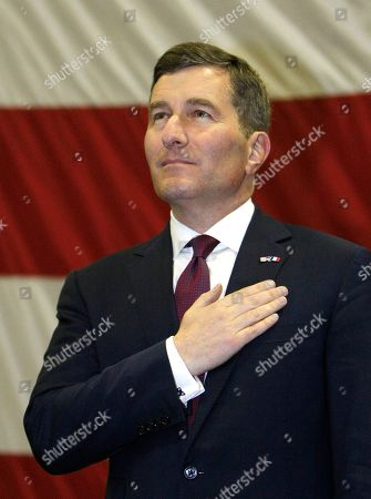 Charles H. Rivkin U.S Ambassador to France and Monaco Charles H. Rivkin, stands during the US national anthem aboard US aircraft carrier USS Dwight D. Eisenhower, in Marseille, southern France, . US aircraft carrier USS Dwight D. Eisenhower departed from Norfolk, Virginia, USA on Feb 21 and stopped in Marseille, southern France, en route for the Mediterranean sea and Indian Ocean