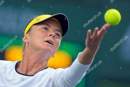Daniela Hantuchova Daniela Hantuchova, of Slovakia, serves to Stephanie Foretz Gacon, of France, at the BNP Paribas Open tennis tournament, in Indian Wells, Calif