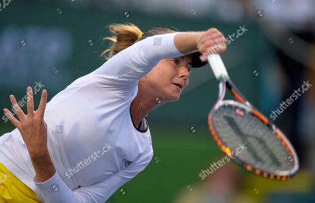 Daniela Hantuchova Daniela Hantuchova, of Slovakia, serves to Stephanie Foretz Gacon, of France, during their match at the BNP Paribas Open tennis tournament, in Indian Wells, Calif