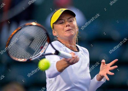 Daniela Hantuchova Daniela Hantuchova, of Slovakia, returns a shot to Stephanie Foretz Gacon, of France, at the BNP Paribas Open tennis tournament, in Indian Wells, Calif