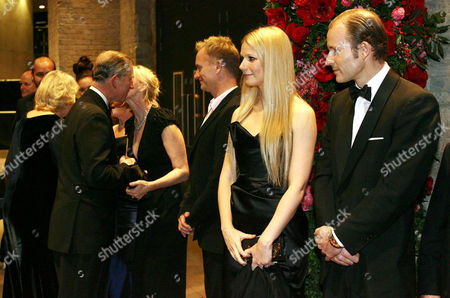 Prince Charles greeting Trudie Styler, while Sting looks on, with Gwyneth Paltrow and Prince Kyril of Bulgaria