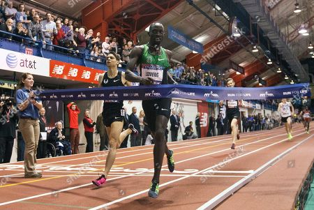 Lopez Lomong Lopez Lomong, center right, edges out Matthew Centrowitz, left, during the Men's Wanamaker Mile at the 106th Millrose Games, in New York. Lomong won with a time of 3:51.21