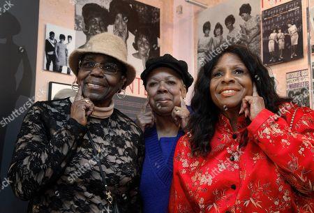 "Stock Image of Jackie Hicks, Louvain Demps, Marlene Barrow-Tate This photo show The Andantes, from left, Jackie Hicks, Marlene Barrow-Tate and Louvain Demps posing during a visit to Motown Historical Museum in Detroit. In their 70s, the unsung backing group who sang on thousands of Motown songs is finally getting acclaim for its contributions to the ground-breaking, chart-topping music made in Detroit in the 1960s and early '70s before the label moved to Los Angeles. The trio gathered recently to see the exhibit, ""Motown Girl Groups: The Grit, the Glamour, the Glory."" The Andantes are featured, with equal billing, alongside the Supremes, Vandellas, Marvelettes and Velvelettes"