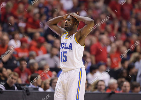 UCLA's Shabazz Muhammad reacts against Arizona during a semifinal Pac-12 tournament NCAA college basketball game, in Las Vegas