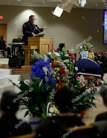 Stephen Flaherty Virginia State superintendent, Col. Stephen Flaherty, speaks during the funeral for Virginia State Trooper Junius A. Walker, at the Good Shepherd Baptist Church for the funeral of Trooper Walker in Petersburg, Va., . Walker was gunned down during a traffic stop last week