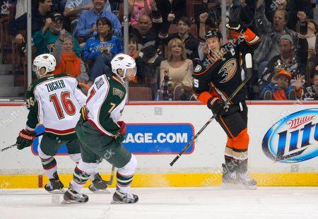 Ryan Getzlaf, Jason Zucker, Matt Cullen Anaheim Ducks center Ryan Getzlaf, right, celebrates his goal as Minnesota Wild left wing Jason Zucker, left, and center Matt Cullen look on during the first period of an NHL hockey game, in Anaheim