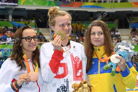 (L-R) Maria Delgado Nadal (ESP), Hannah Russell (GBR), Yaryna Matlo (UKR) - Swimming :  Women's 100m Backstroke S12 Medal Ceremony  at Olympic Aquatics Stadium during the Rio 2016 Paralympic Games in Rio de Janeiro, Brazil.