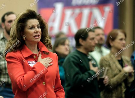 Supporters say the Pledge of Allegiance during a watch party for U.S. Senate candidate, Rep. Todd Akin, R-Mo., in Chesterfield, Mo