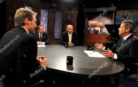Stock Image of Jeff Flake, Richard Carmona, Ted Simons From left to right, Rep. Jeff Flake, R-Ariz., Libertarian candidate Marc Victor, and Democrat Richard Carmona listen to moderator Ted Simons, host and managing editor of Arizona Horizon of Eight, Arizona PBS, give the debate ground rules while in studio prior to an Arizona U.S. Senate debate, in Phoenix. The two are vying for the seat left open by retiring Sen. Jon Kyl, R-Ariz