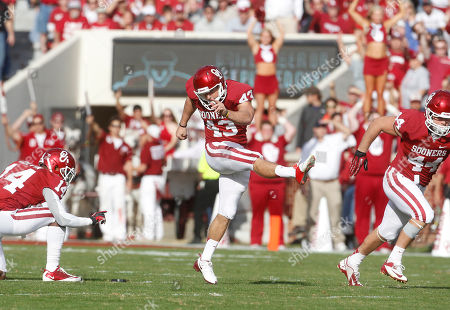 Patrick O'Hara Oklahoma kicker Patrick O'Hara (43) kicks off after an Oklahoma touchdown against Baylor during an NCAA college football game in Norman, Okla