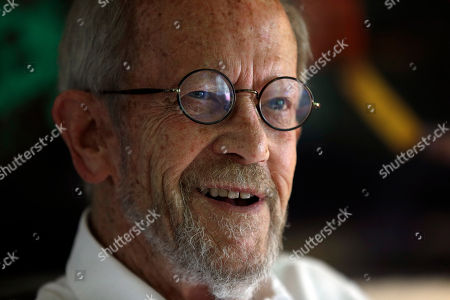 Stock Image of Elmore Leonard Author Elmore Leonard, 86, smiles during an interview at his Bloomfield Township, Mich., home . Leonard says he's thrilled to receive one of the literary world's highest honors, The National Book Foundation's Medal for Distinguished Contribution to American Letters. The crime novelist will be presented with the medal in New York on Nov. 14