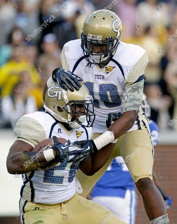 David Sims, Synjyn Days Georgia Tech running back David Sims, left, celebrates after scoring a touchdown with teammate Synjyn Days, right, in the first quarter of an NCAA college football game against Duke, in Atlanta