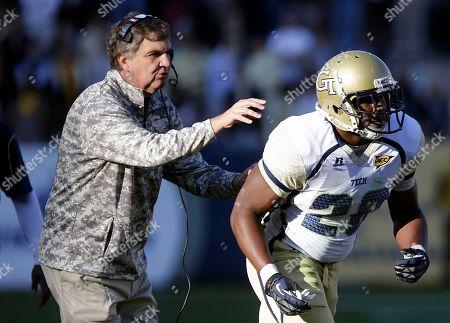 Paul Johnson, David Sims Georgia Tech head coach Paul Johnson, left, sends in David Sims in the first quarter of an NCAA college football game against Duke, in Atlanta. Georgia Tech won 42-24
