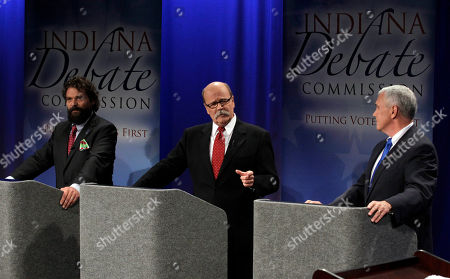 Mike Pence, John Gregg, Rupert Boneham The three candidates for Indiana governor, Libertarian Rupert Boneham, left, Democrat John Gregg, center, and Republican Mike Pence participate in a debate in Fort Wayne, Ind