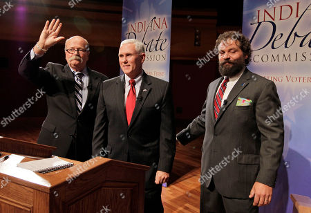 Mike Pence, John Gregg, Rupert Boneham The three candidates for Indiana governor, Democrat John Gregg, left, Republican Mike Pence, center, and Libertarian Rupert Boneham gather after they debated in South Bend, Ind