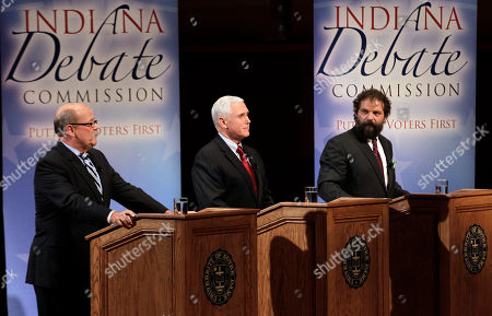 Mike Pence, John Gregg, Rupert Boneham The three candidates for Indiana Governor, Democrat John Gregg, left, Republican Mike Pence, center, and Libertarian Rupert Boneham participate in a debate in South Bend, Ind