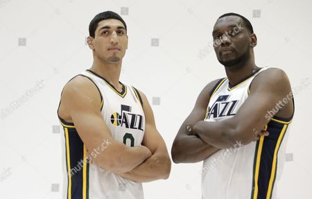 Enes Kanter, Al Jefferson Utah Jazz's Enes Kanter (0) and teammate Al Jefferson poses for a photograph during Jazz media day, in Salt Lake