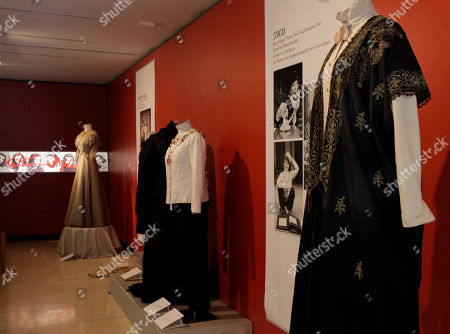 """A design by Jane Greenwood, right, from the 1976 production of """"A Matter of Gravity,"""" is shown as part of the """"Katharine Hepburn: Dressed for Stage and Screen"""" exhibit in the New York Public Library for the Performing Arts at Lincoln Center"""