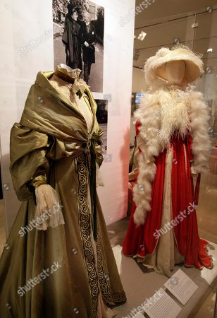 """Two designs by Margaret Furse and Germinal Rangel, from the 1975 ABC Circle Films production of """"Love Among the Ruins,"""" are shown as part of the """"Katharine Hepburn: Dressed for Stage and Screen"""" exhibit in the New York Public Library for the Performing Arts at Lincoln Center"""