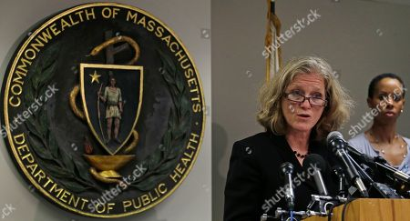 Stock Picture of Madeleine Biondolillo, Lauren Smith Dr. Madeleine Biondolillo, Director of the Mass. Bureau of Healthcare Safety, answers a reporter's question regarding a meningitis outbreak linked to medicine from a Massachusetts specialty pharmacy, during a news conference in Boston, . At rear right is Dr. Lauren Smith, Mass. Dept. of Public Health Medical Director