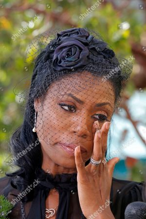 Stock Picture of Omarosa Manigault Michael Clarke Duncan's fiancée Omarosa Manigault attends the Michael Clarke Duncan Memorial Service at Forest Lawn Memorial-Park and Mortuaries in the Hollywood Hills selection of Los Angeles