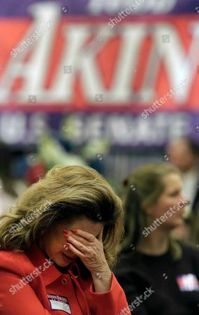 Gail Bowman, from St. Louis, reacts after hearing that U.S. Senate candidate, Rep. Todd Akin, R-Mo., lost to U.S. Sen. Claire McCaskill, D-Mo. during Akin's watch party, in Chesterfield, Mo