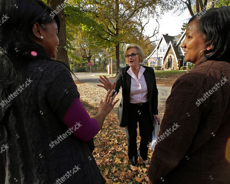 Claire McCaskill Democratic Sen. Claire McCaskill talks to Donna Brown, right, and her daughter Amanda Brown, as she canvasses a neighborhood, in Kansas City, Mo. McCaskill is running against Republican Todd Akin for Missouri's Senate seat