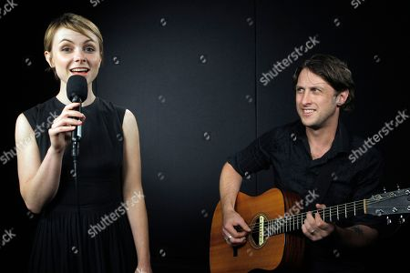 Texan singer-songwriter Kat Edmonson performs with Steve Elliot on guitar at the Associated Press office in Los Angeles