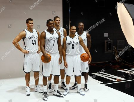 Kris Humphries, Joe Johnson, Brook Lopez, Deron Williams, Gerald Wallace Brooklyn Nets Kris Humphries, Joe Johnson, Brook Lopez, Deron Williams, and Gerald Wallace, left to right, pose for photos during Brooklyn Nets basketball media day, in the Brooklyn borough of New York