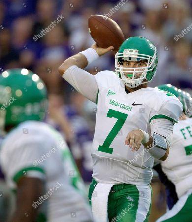 Derek Thompson North Texas quarterback Derek Thompson (7) passes to a teammate during the first half of an NCAA college football game against Kansas State in Manhattan, Kan