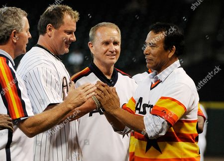 Jose Cruz, Craig Reynolds, Roger Clemens, Alan Ashby Former Houston Astros Jose Cruz greets Craig Reynolds, left, Roger Clemens and Alan Ashby during a ceremony to celebrate the team's 50th anniversary before a baseball game against the Pittsburgh Pirates, in Houston