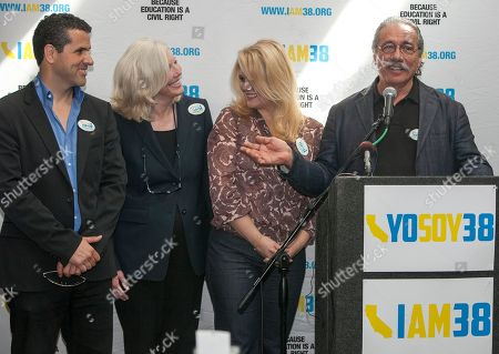 """Stock Image of Marco Regil, Molly Munger, Melissa Revuelta, James Olmos Proposition 38 supporters from left: Marco Regil, television host for MundoFox, Molly Munger, civil rights attorney and the primary advocate behind Prop 38, Melissa Revuelta, bilingual high school teacher, and actor James Olmos, during a news conference to support """"I Am 38,"""", the California Proposition 38 in Los Angeles . Proposition 38, a State Income Tax Increase to Support Public Education, is on the Nov. 6, 2012 ballot in Calif"""