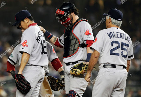Daisuke Matsuzaka Boston Red Sox manager Bobby Valentine, right, approaches the mound to take starting pitcher Daisuke Matsuzaka, left, of Japan, out during the third inning of a baseball game against the New York Yankees, in New York. Catcher Jarrod Saltalamacchia stands at center